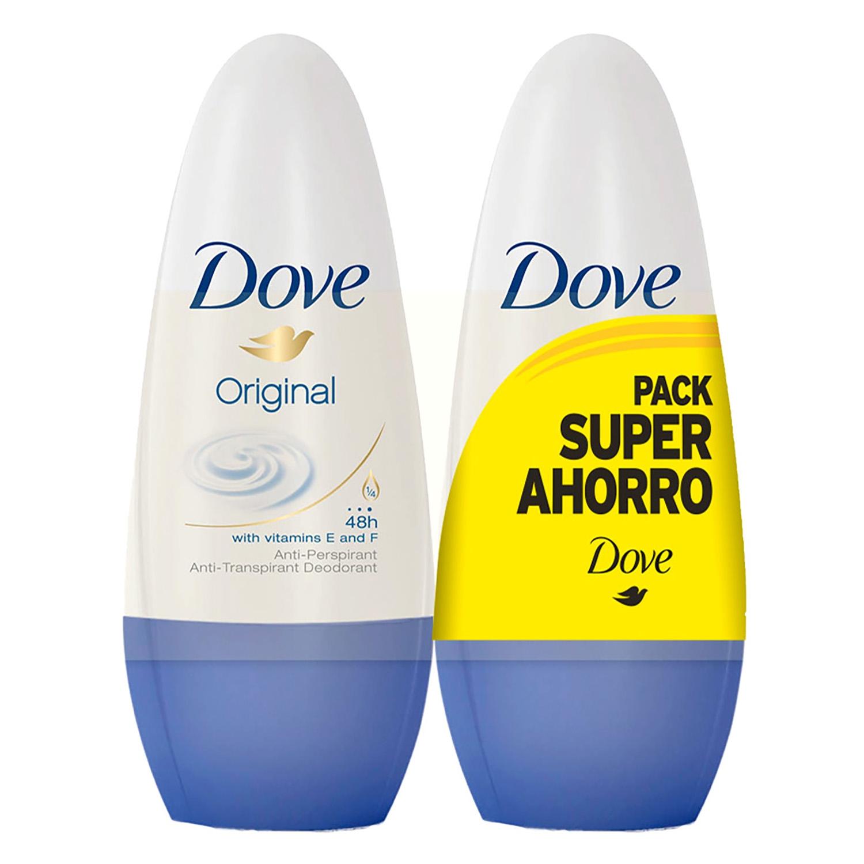 Desodorante Original con vitaminas E y F roll-on Dove pack de 2 unidades de 50 ml.