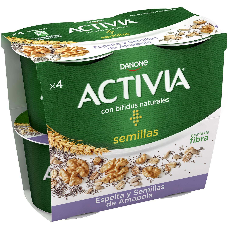 b1e3afbbc327 Yogur bífidus con espelta y semillas de amapola Danone Activia pack de 4  unidades de 120 g.