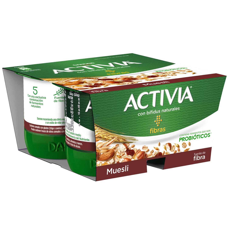 Yogur bífidus de fibras con muesli Danone Activia pack de 4 unidades de 120 g.