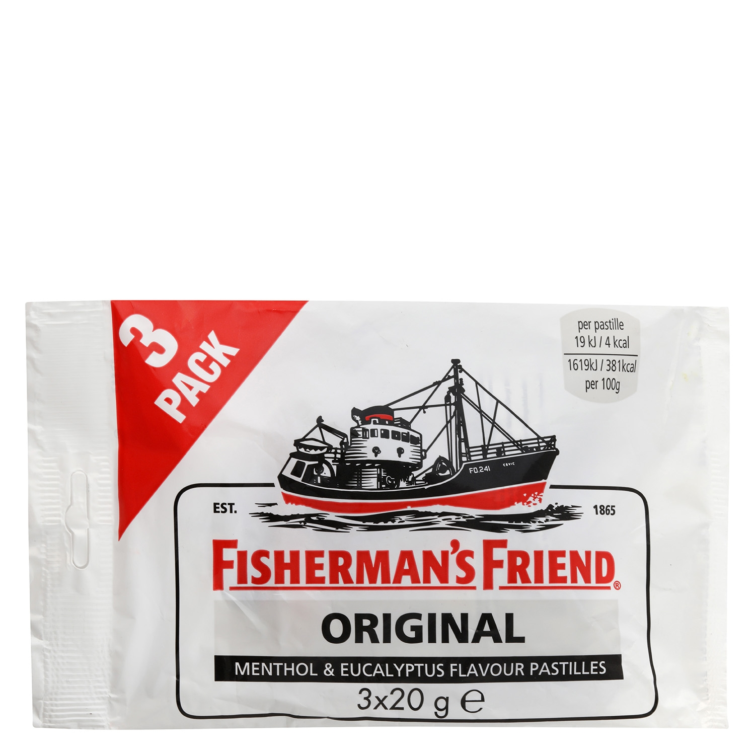 Caramelos Original Fisherman´s Friend 3 paquetes de 20 g.