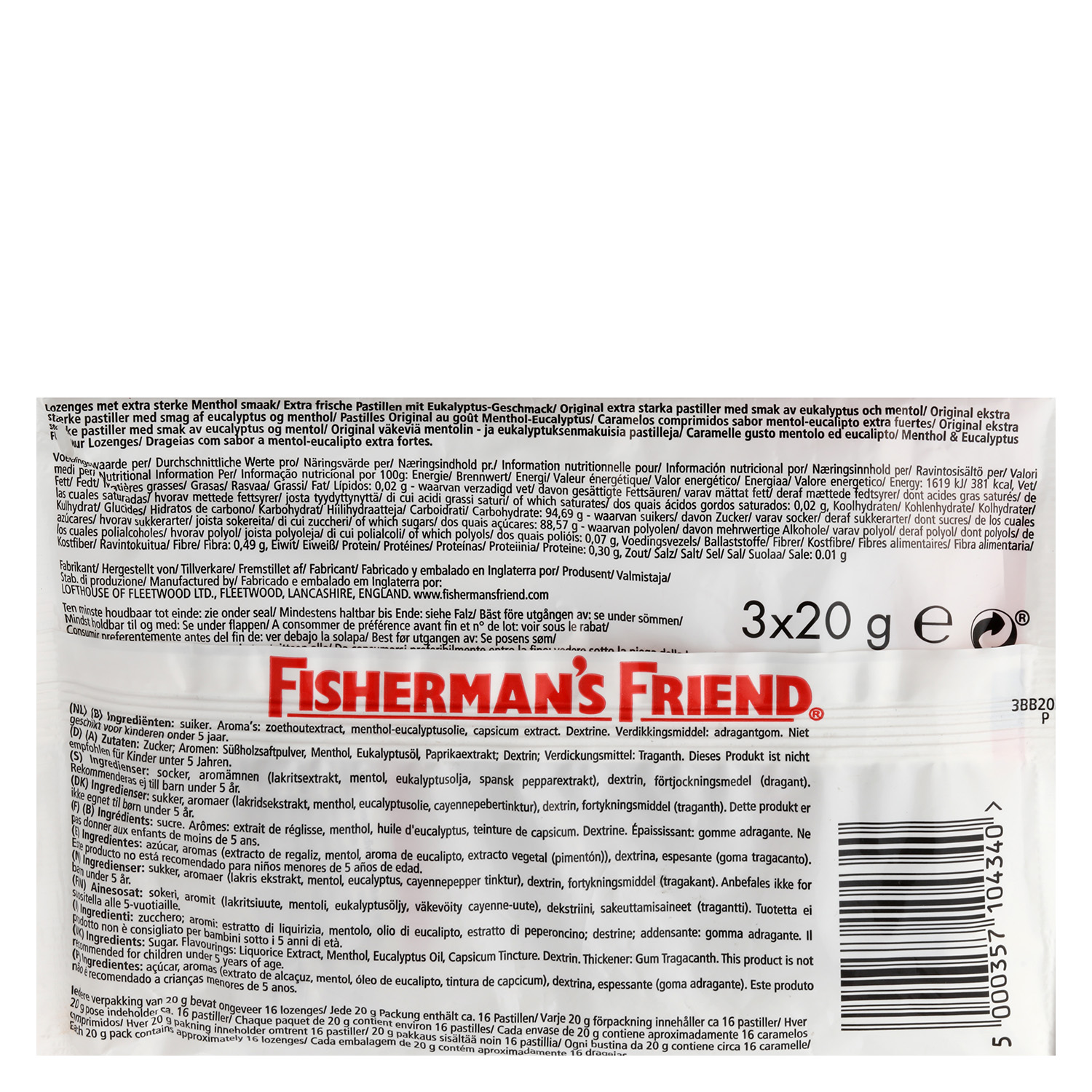 Caramelos Original Fisherman´s Friend 3 paquetes de 20 g. -