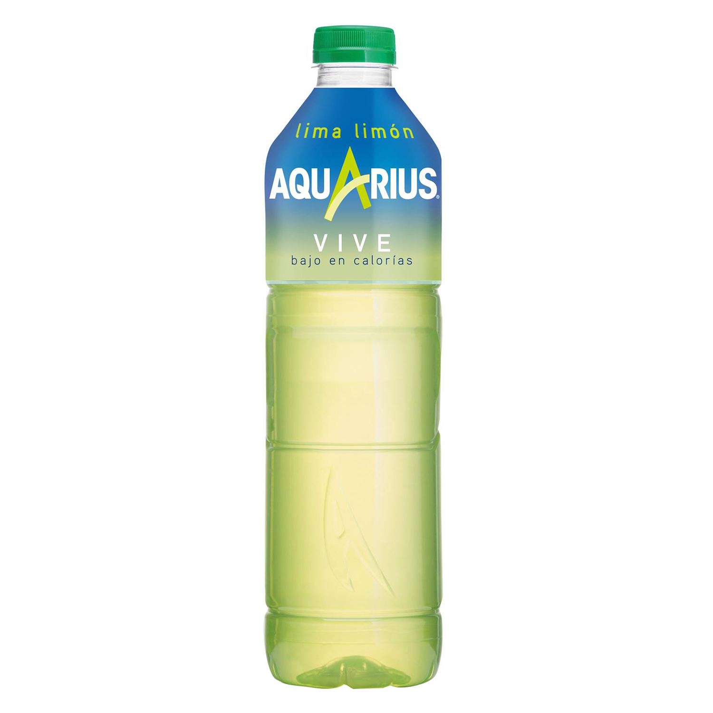 Bebida Isotónica Aquarius Vive bajo en calorías sabor lima limón botella 1,5 l.