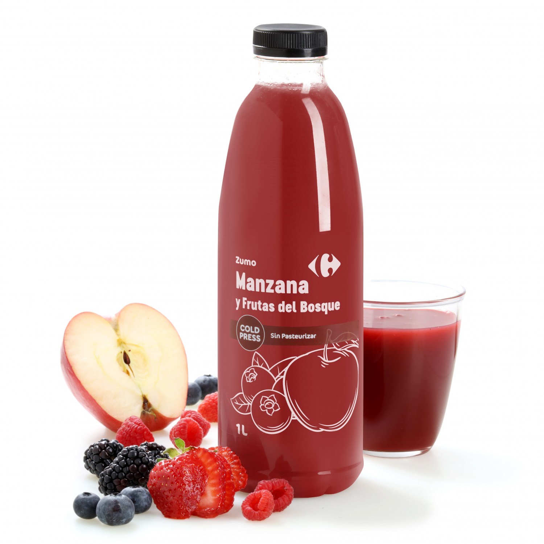 Zumo de manzana y frutos del bosque Carrefour botella 25 cl.
