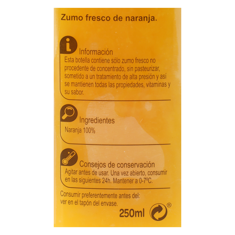 Zumo de naranja Carrefour botella 25 cl. -
