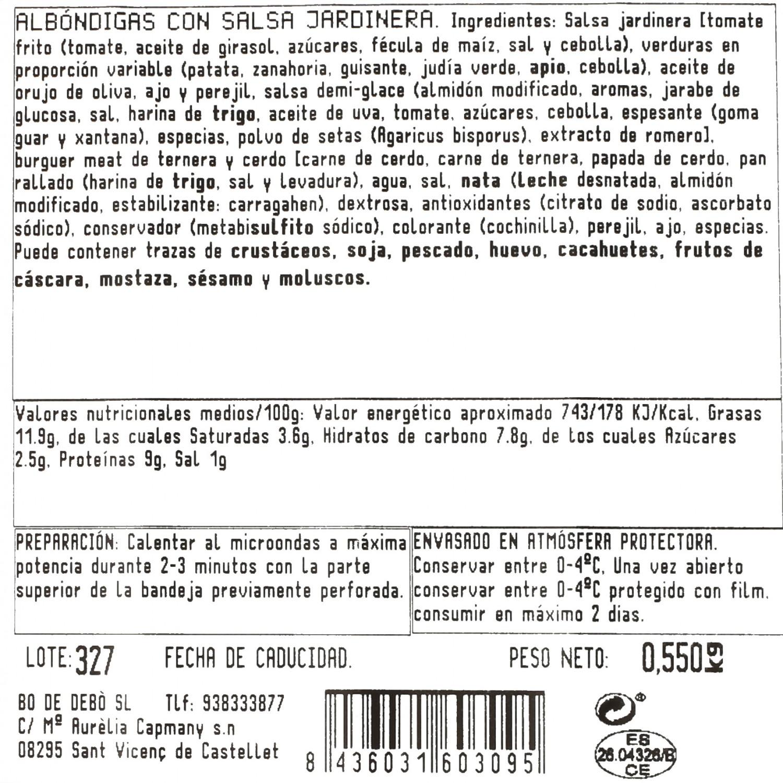Albóndigas con salsa jardinera Bo de Debó 550 g - 3