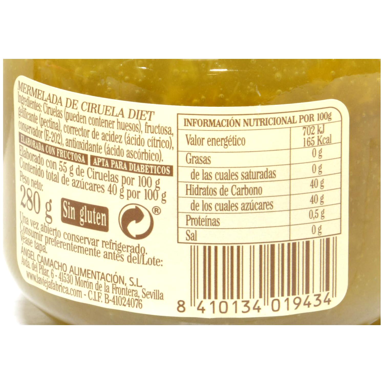 Mermelada de ciruela Diet La Vieja Fábrica 285 g. -