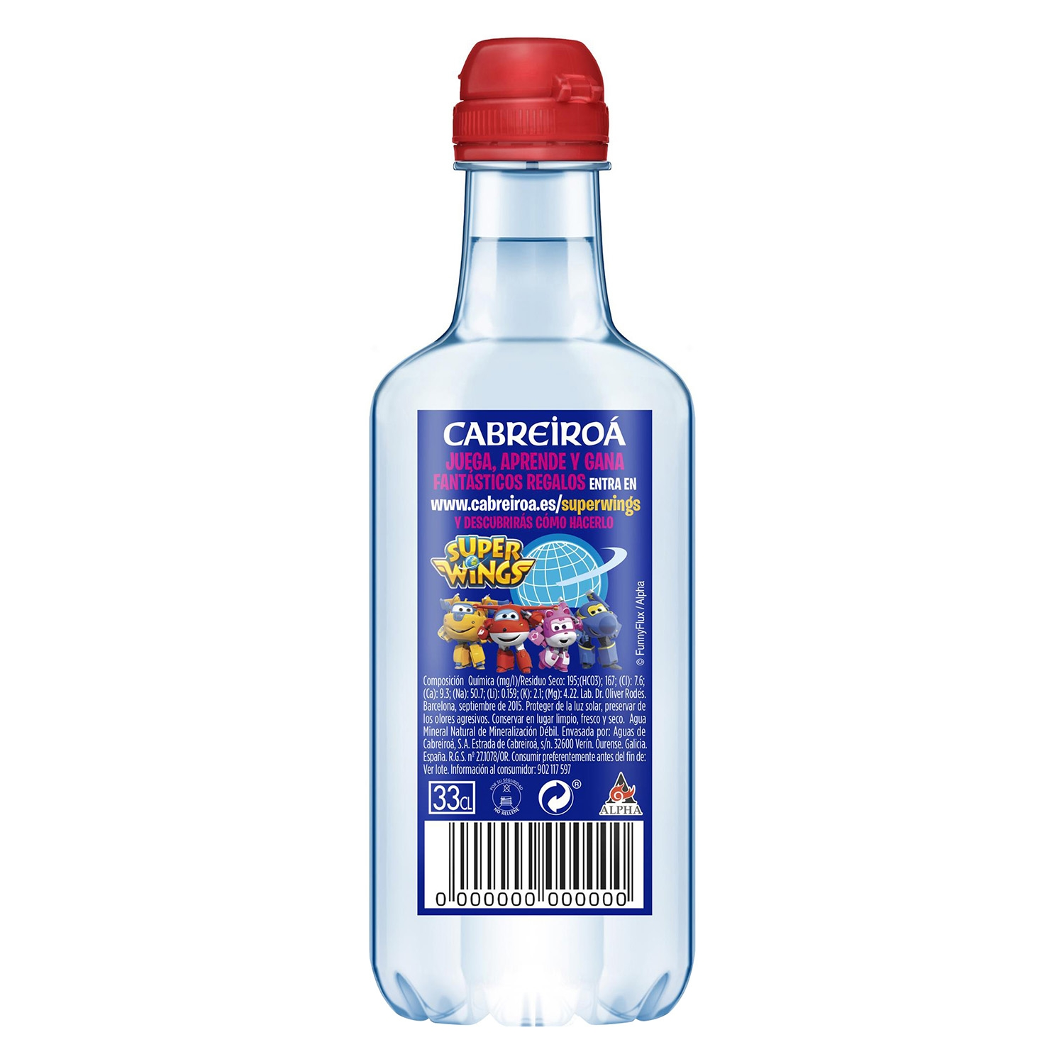 Agua mineral Cabreiroá natural tapón deportivo 33 cl. -