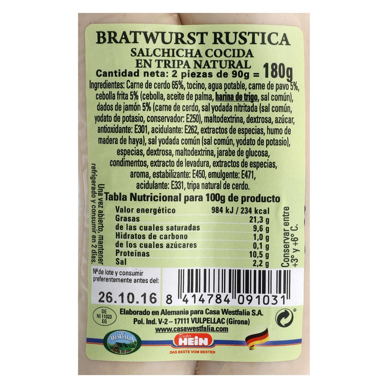 Salchichas Bratwurst rústica Casa Westfalia 180 g. -