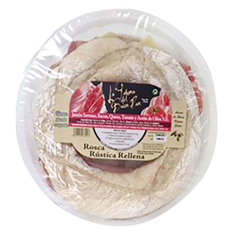 Rosca rústica jamón, queso y bacón