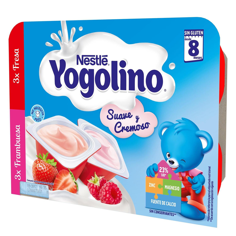Postre lácteo de fresa y frambuesa desde 8 meses Nestlé Yogolino sin gluten pack de 6 unidades de 60 g. -