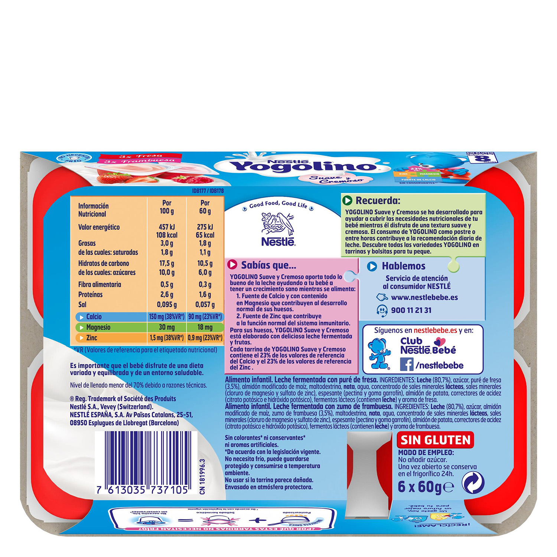 Postre lácteo de fresa y frambuesa desde 8 meses Nestlé Yogolino sin gluten pack de 6 unidades de 60 g. - 2