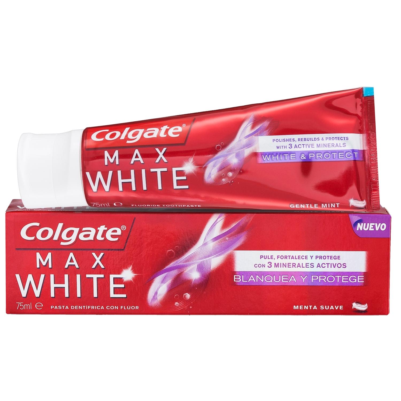 Dentífrico Max White Blanquea y Protege Colgate 75 ml.