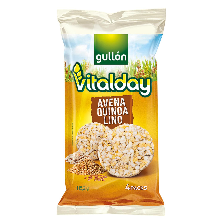 Tortitas de avena, quinoa y lino Gullón  Vitalday 115,2 g.