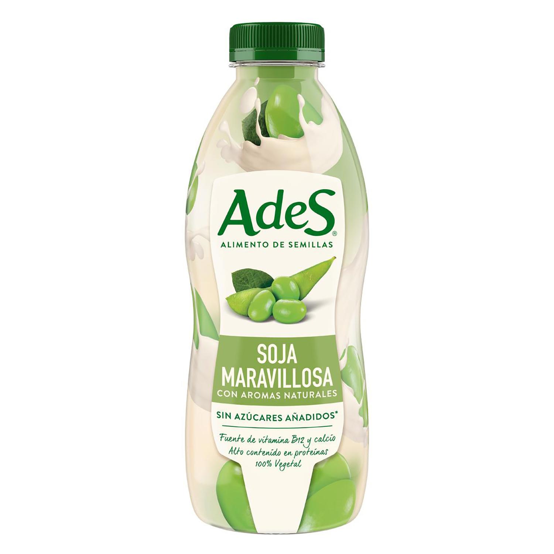 Bebida de soja AdeS con aromas naturales sin azúcar añadido botella 800 ml.