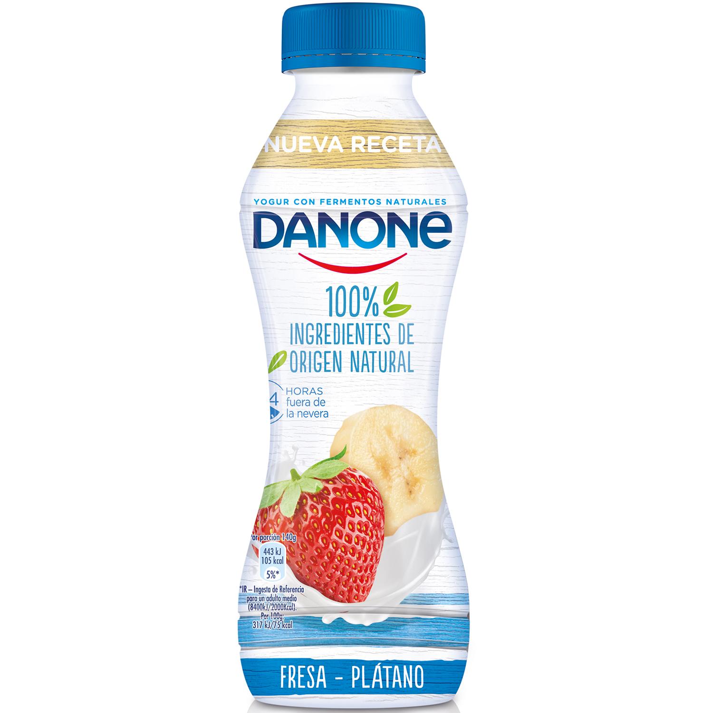 Yogur líquido de fresa y plátano 100% ingredientes naturales