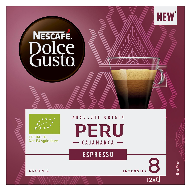 Café expresso Perú ecológico en cápsulas Nescafé-Dolce Gusto 12 ud de 7 g. -