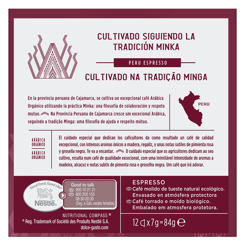 Café expresso Perú ecológico en cápsulas Nescafé-Dolce Gusto 12 ud de 7 g. - 2