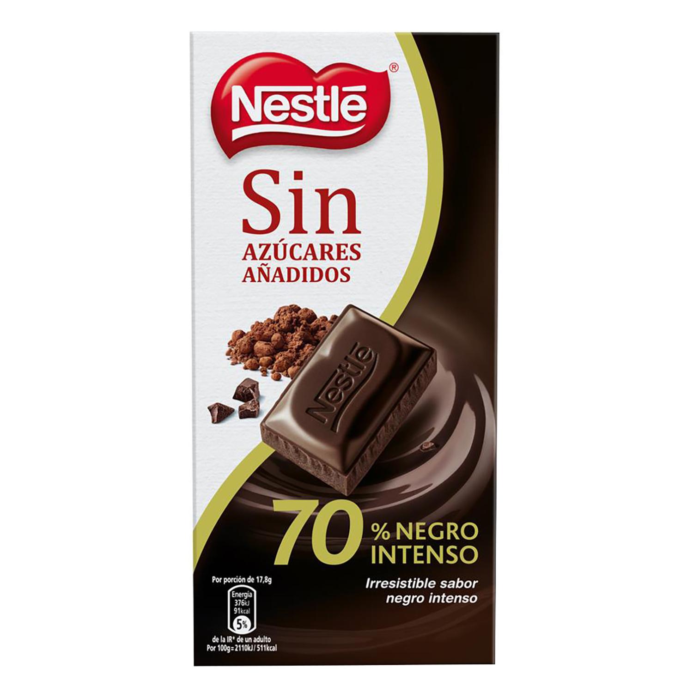 Chocolate negro 70% sin azúcar añadido Nestlé 125 g.