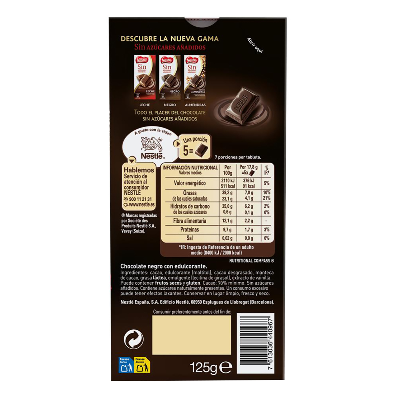 Chocolate negro 70% sin azúcar añadido Nestlé 125 g. -