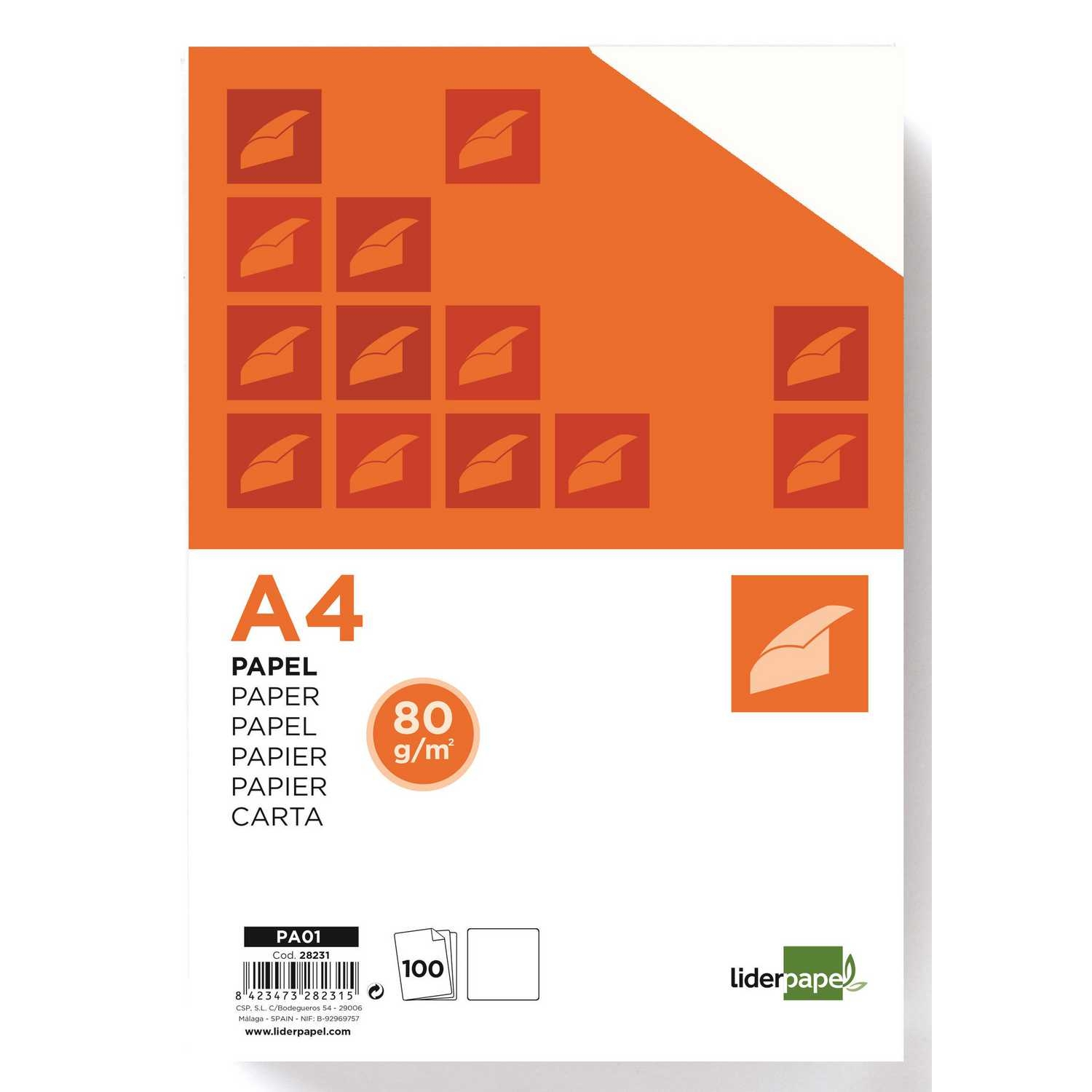 Paquete A4 100 Hojas A4 Liderpapel 80g/m2 Blanco