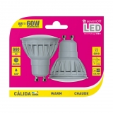 Pack de 2 Bombillas Led GU10 8W Cálida
