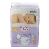 Pañal Talla 2 Carrefour Baby Soft&Protect de 3-6kg 60 uds