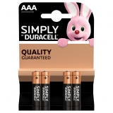 Pack de 4 Pilas Alcalinas Uso Basico Duracell Lr03 (Aaa) Simply