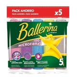 5 Bayetas Multiusos Microfibras collection BALLERINA  - Colores surtidos