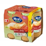 Pack Cuatro Tarritos Hero Baby Arroz con Pollo Tierno