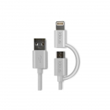 Cable de Datos MicroUSB y Lightning Ideus - Blanco
