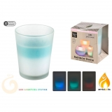 Vela Citronela en Vaso con Led Cambio Color 13x16 cm
