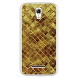 Funda Gel Vodafone Smart 4 Power Becool Cuadrados De Oro Brillantes
