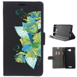 Becool® - Funda Libro Ramo Flores Turquesa Para Alcatel Flash Plus 2