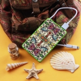 Batería Externa Power Bank 4000 Mah Verde Colorful Abstract Flowers + Gratis Cable Usb-microusb Y Adaptador Lightning - Becool®