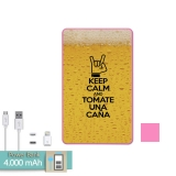 Batería Externa Power Bank 4000 Mah Rosa Keep Calm Caña + Gratis Cable Usb-microusb Y Adaptador Lightning - Becool®