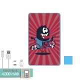 Batería Externa Power Bank 4000 Mah Azul Monstruo Rockero + Gratis Cable Usb-microusb Y Adaptador Lightning - Becool®