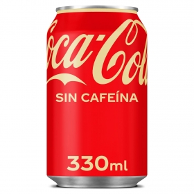 Refresco de cola Coca Cola sin cafeína lata 33 cl.