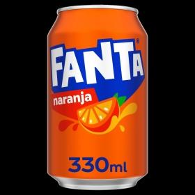 Refresco de naranja Fanta con gas lata 33 cl.