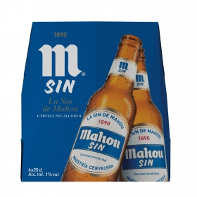 Cerveza Mahou Sin alcohol pack de 6 botellas de 25 cl.