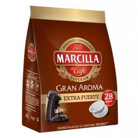Café extra fuerte monodosis Gran Aroma Marcilla compatible con Senseo 28 ud.