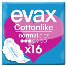 Compresas Cottonlike normal con alas Evax 16 ud.