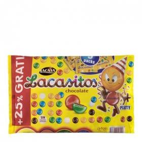 Grageas de chocolate Lacasitos Lacasa pack de 9 unidades de 16 g.
