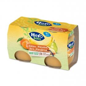Tarrito de plátano, mandarina y pera desde 4 meses Hero Baby natur pack de 2 unidades de 120 g.