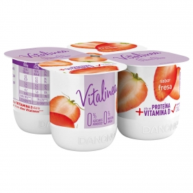 Yogur desnatado de fresa Danone Vitalinea pack de 4 unidades de 125 g.