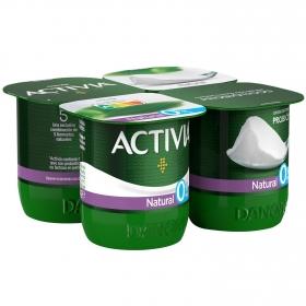 Yogur bífidus desnatado natural Danone Activia pack de 4 unidades de 120 g.
