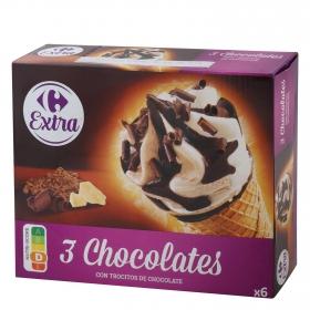 Conos con helado de tres chocolates Carrefour 6 ud.