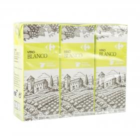 Vino blanco Carrefour pack de 3 briks de 20 cl.