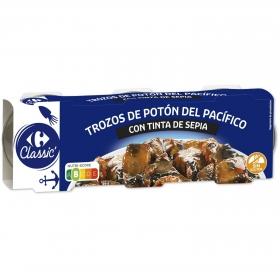 Trozos de potón en salsa tinta Carrefour sin gluten pack de 3 unidades de 51 g.