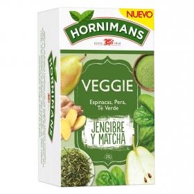 Infusión Veggie Jengibre y Matcha con espinaca, pera y te verde en bolsitas Hornimans 21 ud.