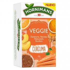 Infusión Veggie Curcuma con zanahoria, naranja, melocoton y rooibos en bolsitas Hornimans 22 ud.
